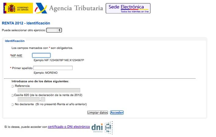 solicitar borrador renta 2013