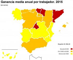 El salario medio en España-comunidades autónomas