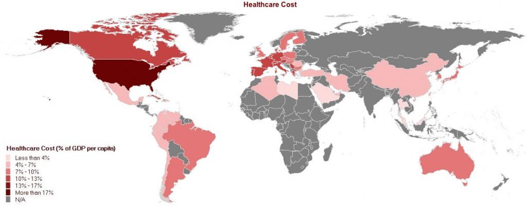 ¿Cuánto cuestan los sistemas de salud en cada país?